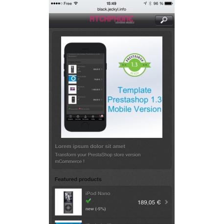 Black Google Mobile friendly Prestashop Template