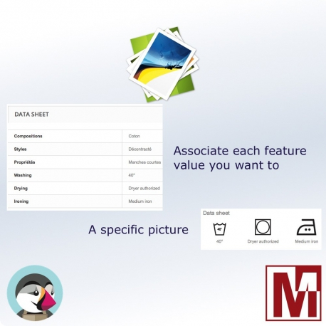 Associate images with the characteristics PrestaShop